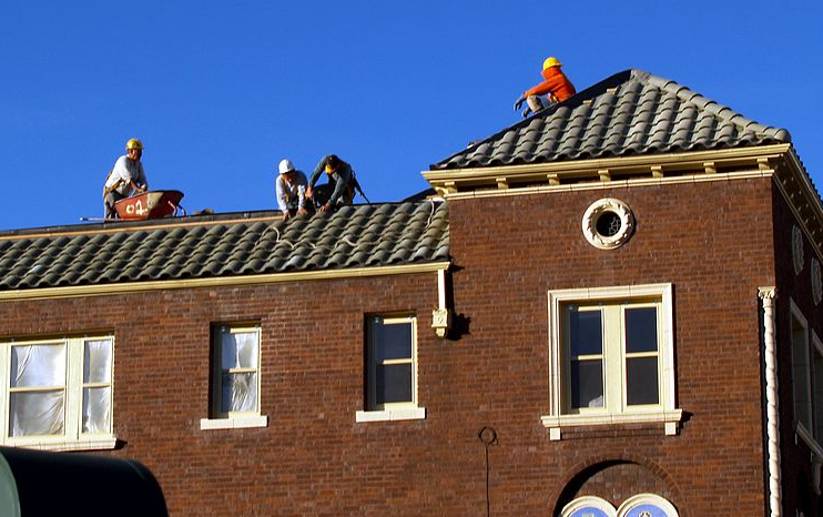 This is a picture of commercial roofing works in Huntington Beach
