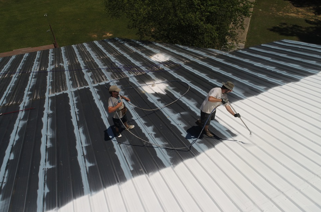 this is a picture of roof coating in Huntington Beach, California.